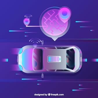 Widok z góry futurystyczny autonomiczny samochód z płaska konstrukcja