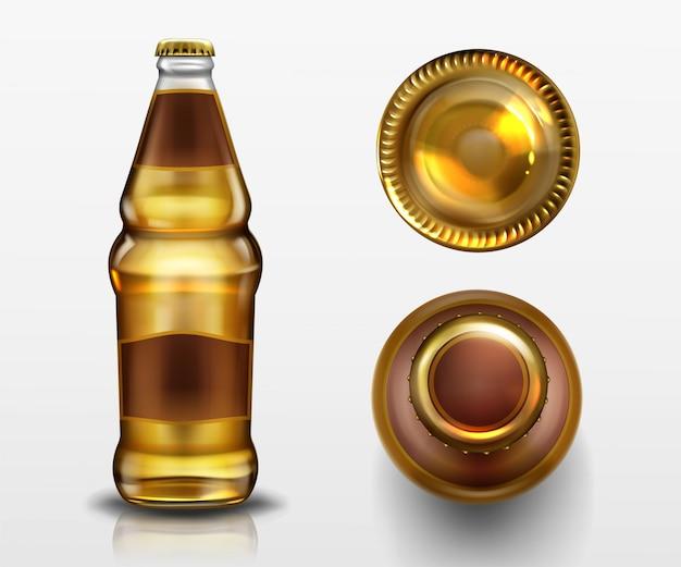 Widok z góry i dołu butelki piwa, napój alkoholowy w pustej szklanej kolbie z zamkniętym metalowym korkiem i płynem na białym tle