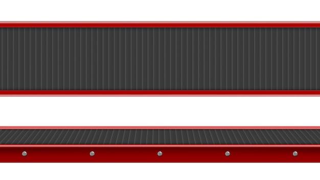Widok z góry i z boku przenośnika taśmowego, przemysłowa pusta linia produkcyjna do przetwarzania, zautomatyzowany sprzęt do produkcji dla fabryki na białym tle, realistyczna ilustracja 3d
