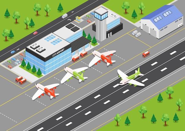 Widok z góry izometrycznej ilustracji lotniska z terminalami budującymi samoloty na lotnisku i pasach startowych
