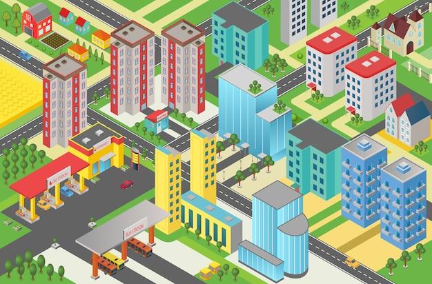 Widok z góry izometryczny miejski nowoczesne miasto megapolis