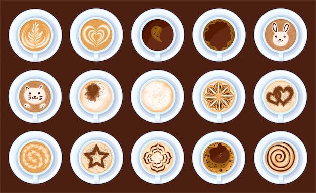 Widok z góry kawy na białym tle kreskówka zestaw ikon. kreskówka zestaw ikona filiżanka cappuccino. ilustracja widok z góry kawy na białym tle.