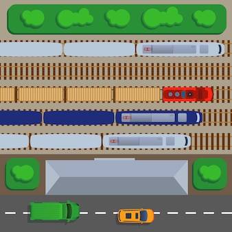 Widok z góry kolei z ilustracją pociągów i szyn, platformy i zajezdni.