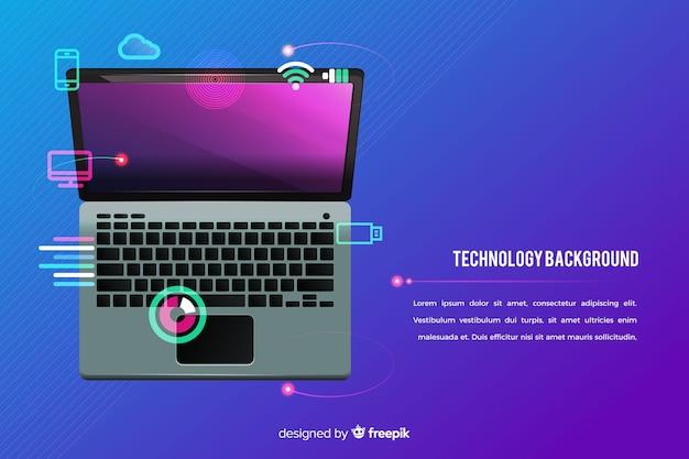 Widok z góry laptop technologia tło