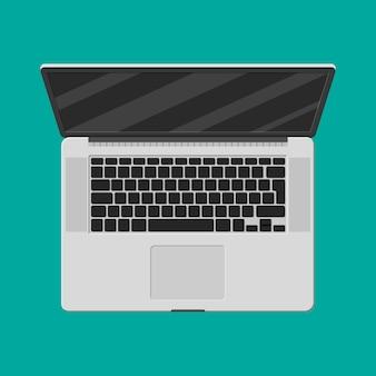Widok z góry laptopa. komputer mobilny. notatnik