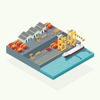 Widok z góry logistyka ładunków i kontenerowiec transportowy z działającym żurawiem import eksportowym przemysłem transportowym w stoczni wysyłkowej. izometryczny wektor ilustracja