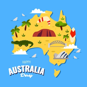Widok z góry mapę australii dzień