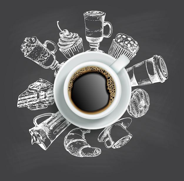 Widok z góry na filiżankę kawy ze szkicowymi słodyczami wokół niej