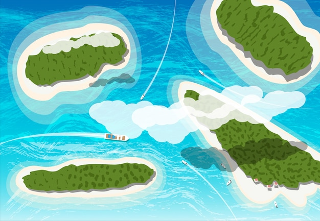 Widok z góry na kilka tropikalnych wysp