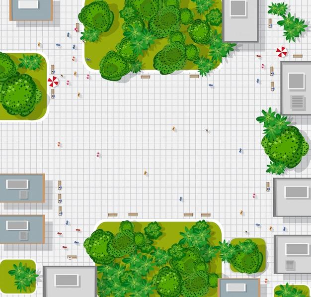 Widok z góry na miasto. mapa miasta w tle