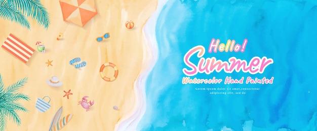 Widok z góry na plaży oceanu fale morze z deską surfingową, parasol, piłka, pierścień do pływania, okulary przeciwsłoneczne, kapelusz, sandały, rozgwiazdy w letnie wakacje turystyka tropikalna podróż. ręcznie malowane akwarela.