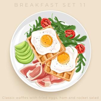 Widok z góry na pyszne śniadanie zestaw na białym tle na beżowym tle: ilustracja