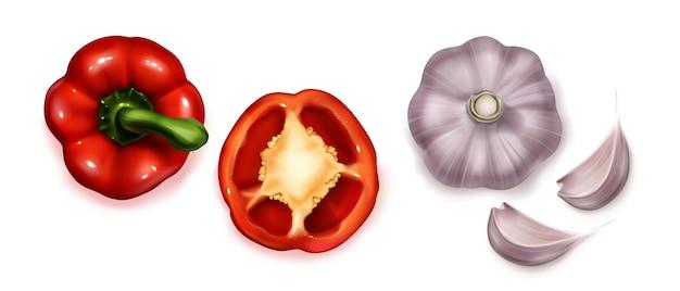 Widok z góry na realistyczną kolekcję warzyw