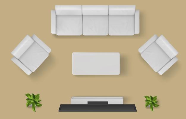 Widok z góry na salon w domu apartamentowym lub nowoczesnym wnętrzu hotelu