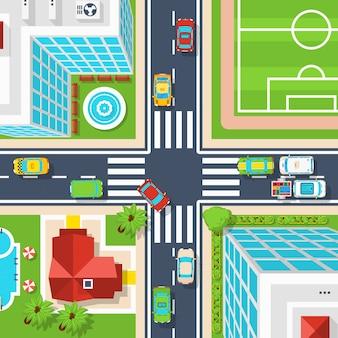 Widok z góry na skrzyżowanie miast