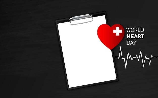 Widok z góry na światowy dzień serca z notatnikiem
