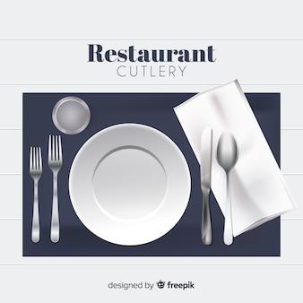Widok z góry na sztućce restauracja z realistycznym wystrojem