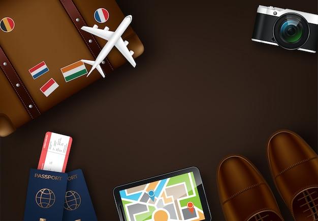 Widok z góry na tle koncepcji podróży i turystyki