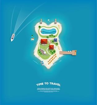 Widok z góry na wyspę w postaci kostiumu kąpielowego. plakat czas na podróż i wakacje. wakacyjna wycieczka. podróż i turystyka.