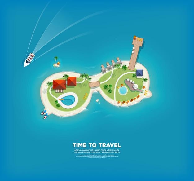 Widok z góry na wyspę w postaci okularów przeciwsłonecznych. plakat czas na podróż i wakacje. wakacyjna wycieczka. podróż i turystyka.