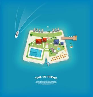 Widok z góry na wyspę w postaci spodenek. plakat czas na podróż i wakacje. wakacyjna wycieczka. podróż i turystyka.