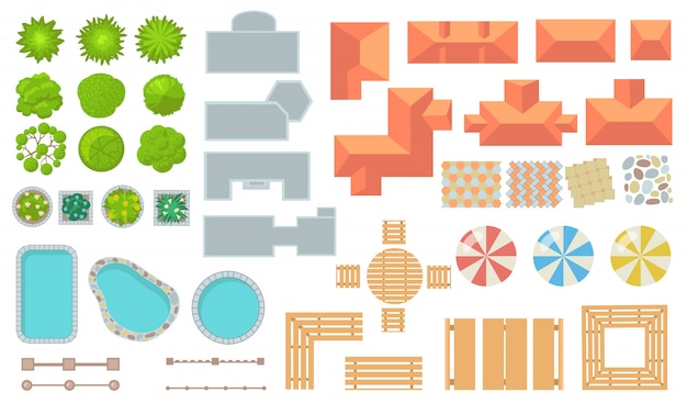 Widok z góry na zestaw ikon płaskich elementów parku i miasta