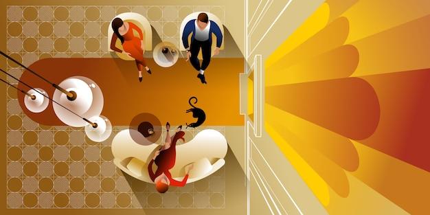 Widok z góry nowoczesna kuchnia wnętrz. makieta wektorowa strony docelowej układu
