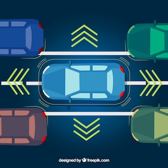 Widok z góry nowoczesnego samochodu autonomicznego
