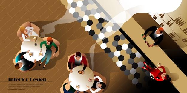 Widok z góry nowoczesny bar wnętrza. makieta wektorowa strony docelowej układu