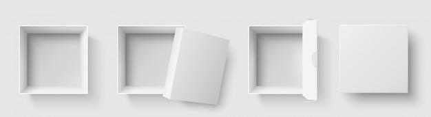 Widok z góry. otwartego pakunku kwadratowi pudełka z otwartą nakrętką, pustego pakunku makiety 3d ilustraci odosobniony set