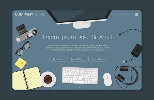 Widok z góry płaska koncepcja kreatywnego obszaru roboczego dla strony docelowej projektowania stron internetowych