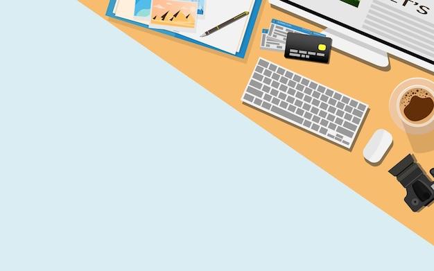 Widok z góry płaski kształt biurka roboczego z miejsca na kopię