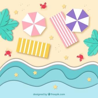 Widok z góry plaży w stylu origami