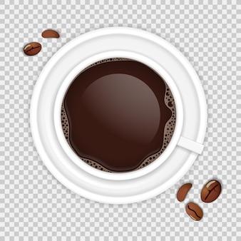 Widok z góry realistyczna filiżanka kawy z fasolami na przezroczystym tle