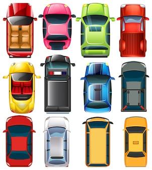 Widok z góry różnych samochodów