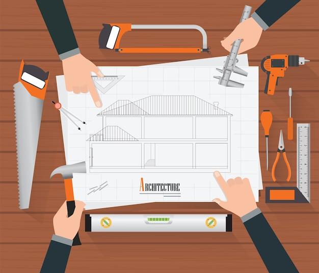 Widok z góry rysunków planowania budowy.