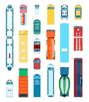 Widok z góry samochodu transport miejski z góry autobus ciężarówka pogotowie taksówka samochód policyjny wektor zestaw