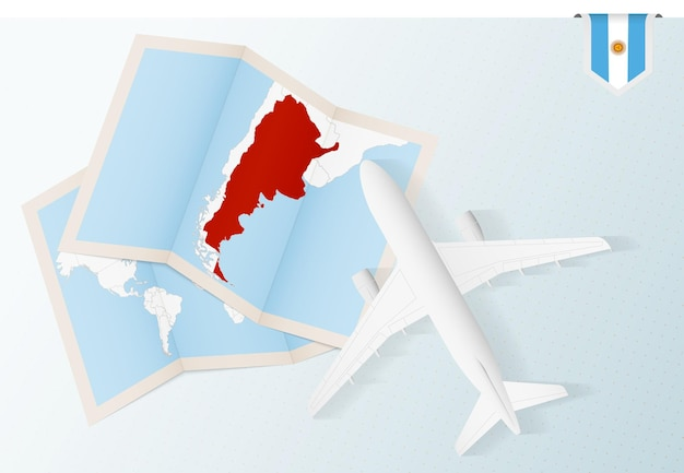 Widok z góry samolot z mapą i flagą argentyny.