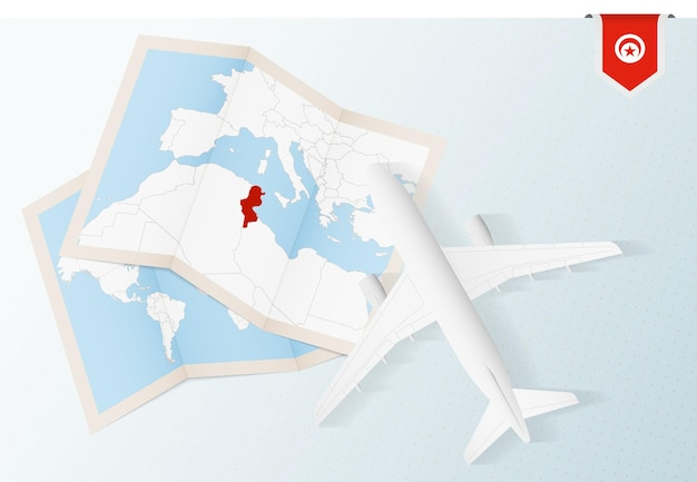 Widok z góry samolot z mapą i flagą tunezji