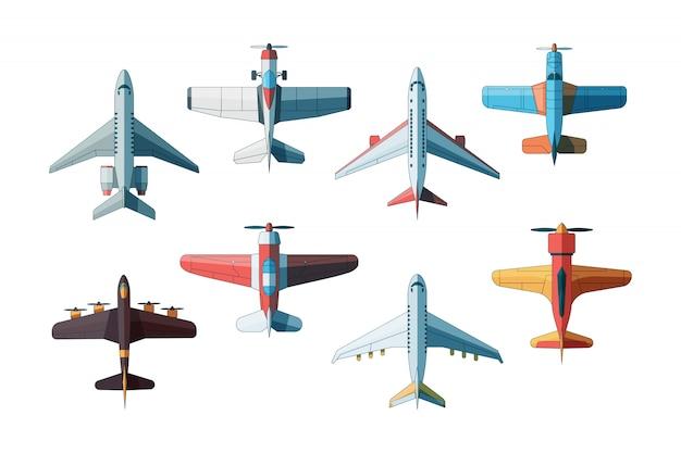 Widok z góry samolotu. kolekcja samolotów cywilnych i wojskowych w stylowych zdjęciach