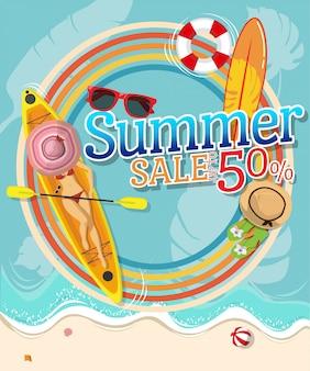 Widok z góry seksownej kobiety w czerwonym bikini z kolorowym tłem z tekstem letniej sprzedaży 50%