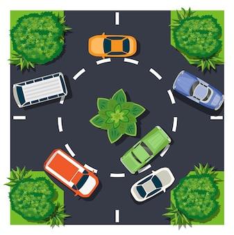 Widok z góry skrzyżowania samochodów to mapa