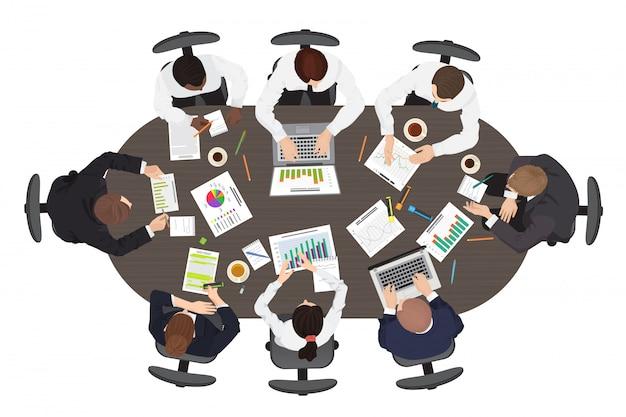 Widok z góry spotkanie biznesowe pracy zespołowej