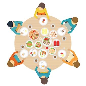 Widok z góry strony cateringowej z ludźmi.
