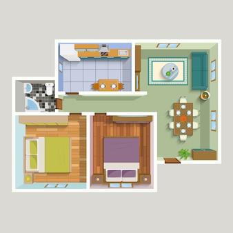 Widok z góry szczegółowy plan wnętrza mieszkania