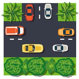 Widok z góry to mapa bloku modułu skrzyżowania samochodów miejskich