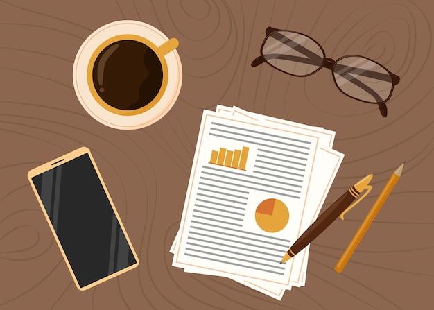 Widok z góry w miejscu pracy domu. materiały biurowe z filiżanką kawy i telefonem komórkowym na stole. drewniane tło. ilustracja wektorowa