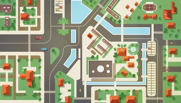 Widok z góry, z lotu ptaka lub lotu ptaka lub plan nowoczesnego miasta z budynkami handlowymi i mieszkalnymi, konstrukcjami, drogami, ulicami, rzeką, kanałami i mostami. piękny krajobraz miejski. płaska ilustracja.