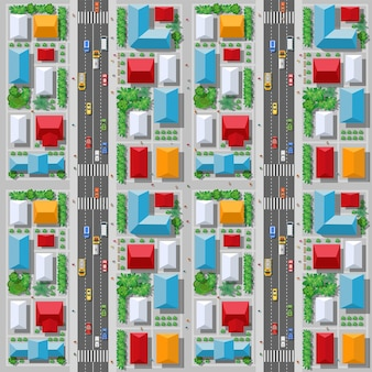 Widok z góry z ruchu, transportu, transportu to mapa ulic blokowych z infrastrukturą miejską, drogami, drzewami, parkami i ogrodami.