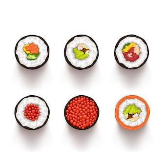 Widok z góry zestaw sushi